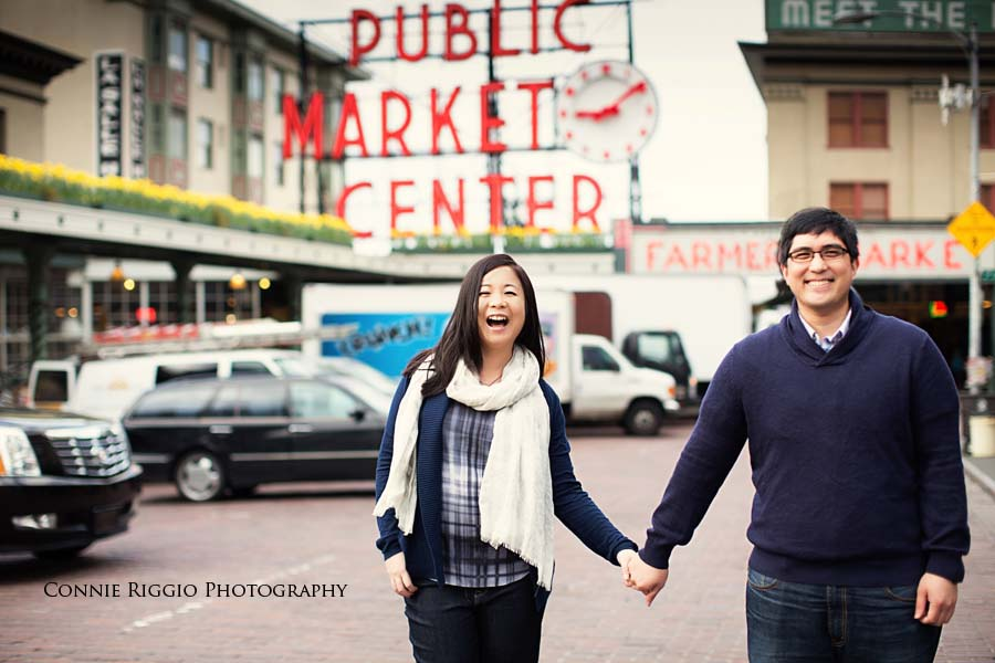 Engagement Seattle UW Pick Place Market Post Alley Photo